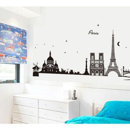 Wholesale Paris Wall Decals - Hot Sale Home Decor Paris Eiffel Tower Removable Decal Room Wall Sticker Decor Free Shipping order<$18no track