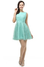 Wholesale Dress Free Shippng - Green Lace Prom Dress 2017 Scoop Neckline Short A Line Party Dress With Zipper up Party Gowns Vestidos de Noche Custom Made free shippng