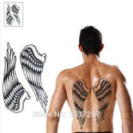 Wholesale Cross Tattoos Back - 2015 New 2pcs lot Cross Wing Feathers back Waterproof large temporary tattoo stickers hot sexy men women designs Free shipping