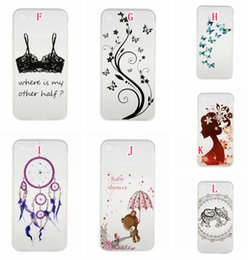 Wholesale Wholesale Case Bra - For Iphone 7 Plus I7 7PLUS Iphone7 Cartoon Flower Soft TPU Case Love Butterfly Bra Girl Dream catcher Baby Shower Skin Cover fashion 350pcs