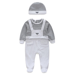 Wholesale Toddler Girls Christmas Clothes - Baby Suits stripe Kids Toddler Infant Casual long sleeve rompers +hat 2pcs sets pajamas newborn clothes