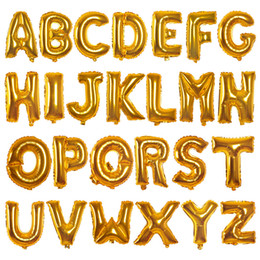 Wholesale Wholesale Lanterns Weddings - Gold Silver 16inch Alphabet English Letter A-Z Number 0-9 Inflatable Aluminum Balloons Birthday Wedding Party Decoration Foil Balloon
