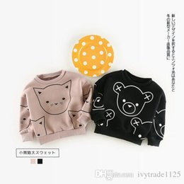 Wholesale Kids Bear Hoodie - 2017 Ins Winter kids girl boy Hoodies cartoon little cat or bear print 100% cotton child thick pulloverer Hoodies & Sweatshirts 2 color
