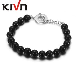 Wholesale Black Onyx Round Beads - KIVN Fashion Jewelry 10mm Round Black Onyx beads Wedding Bridal Bracelets for Women Mothers Day Birthday Christmas Gifts