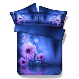 Wholesale Green Floral Bedspreads - 3D Blue floral Bedding set Daisy Flower duvet cover sets bedspread bed sheet linen Cal king queen size twin double bedset 4PCS gift
