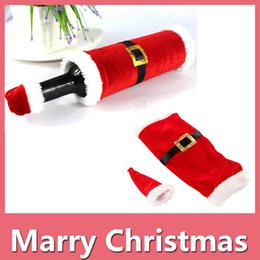 Wholesale Table Cloth Covers Wholesale - Christmas Wine Bottle Bag Red Wine Bottle Cover Bags Merry Xmas Dinner Party Decor Table Christmas Decorations DHL Free 161014