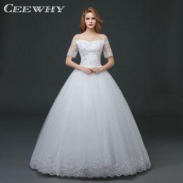 Wholesale Korean White Short Wedding Dress - CEEWHY Short Sleeve Boat Neck Back Lace Wedding Dresses Korean Style Floor Length Ball Gown Plus Size Bridal Dresses Vestidos de Novia