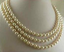 """Triple rangée de perles des mers du sud en Ligne-TRIPLE BRINS 7-8MM SOUTH SEA WHITE PEARL COLLIER 18 """"19"""" 20 """"14K CLASSE OR"""