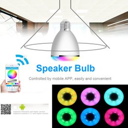 Wholesale E27 Led Iphone - BL-08A Smart LED Blub Light Wireless Bluetooth Music Speaker E27 6W 2in1 Portable Audio RGB Lamp for iPhone Android Smartphone