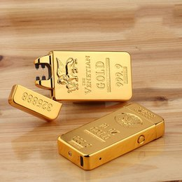 Acheter en ligne Entreprise de barre-Classic Gold Bars Electric Pulse Double Arc Lighter USB Chargeur Cigarette Plus léger Homme USB Lighter Business Cadeaux Briquets
