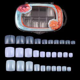 Wholesale Fake Foot Nail - 100 Pcs  Oval box Fake Artificial Nails Sticker Natural Acrylic False Toe Nails Tips For Nail Art Decor Toenails Foot Manicure Beauty Tool