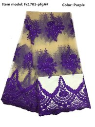 Wholesale Embroidery For African Clothes - Hot New arrival 5 Colors Embroidery African Headtie Lace fabric OrganzaClothes For Wedding clothing traditional French mesh Dress Fc1701-pfg