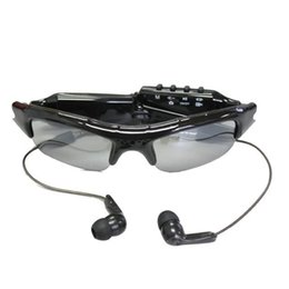 Wholesale Spy Cameras Mp3 - Fashion Spy Camera Sunglasses with MP3 Player Audio Video Recording Photo Tacking Mini Eyewear DV 720*480 PC webcam