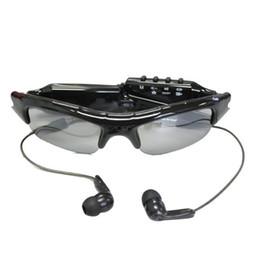 Wholesale Mini Dv Mp3 - Fashion Spy Camera Sunglasses with MP3 Player Audio Video Recording Photo Tacking Mini Eyewear DV 720*480 PC webcam