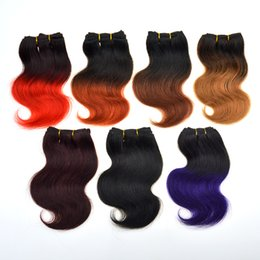 Wholesale Hair Weave Hairstyles - Brazilian Ombre Short Hair Extensions body wave 7a Grade 1B Red ombre weave Human Hair 2016 Trendy Bob Hairstyles brazilian hair 6Pcs 300g