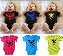 Wholesale Ball Onesies - Newest Poke Baby Rompers 6Colors Infant One-Piece Onesies Toddlers Rompers Cartoon Poke ball Go Baby Suits Pikachu Shirts LC420