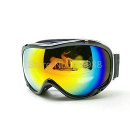 Wholesale Double Lens Ski Goggles - Black brand ski goggle double lens anti-fog big spherical professional ski motocross glasses unisex snow goggles multicolor lens