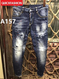 Wholesale Modern Jeans - 2018 High quality fashion New Style Brand Men's Denim Jean Embroidery Tiger Pants Holes Jeans Zipper Men Pants Trousers #6232