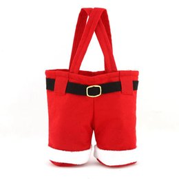 Wholesale Merry Christmas C - Merry Christmas Candy Wine Bottle Bag Christmas Santa Gift Bag Pants Trousers Decor Christmas Gift Bags