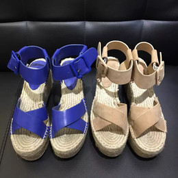Wholesale Sandal Handmade Leather Women - Newest weave rope made of hemp sandals handmade shoes heel high 8cm two colours size of 35-39 best quality same as original mouldiing