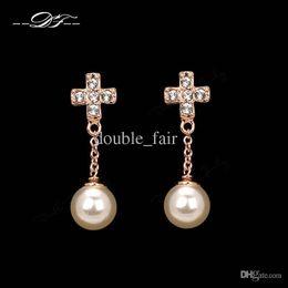 Wholesale Dangle Diamond Cross Earrings - 18K Gold Plated CZ Diamond Cabinet Cross Drop Earrings Fashion Brand Imitation Pearl Beads Jewelry Jewellery For Women Wholesale DFE419