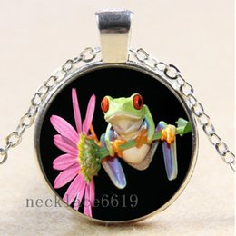 Wholesale Black Cabochon - 10pcs Frog and Flower Chain Necklace,Christmas Birthday Gift,Cabochon Glass Necklace Silver Bronze Black Fashion Jewelry Pendant E-620