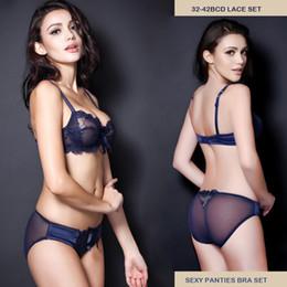 Wholesale C Strap Underwear - Wholesale-32 34 36 38 40 42 B C D Sexy Lace Panties Bra Set Transparent Women Underwear Set Push Up Bras Lingerie Set Fashion Intimates