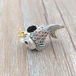 """Wholesale Fish Beads - Authentic 925 Sterling Silver & 14k Gold Plated Bead """"Russian"""" Fairytale Fish Charms Fits European Pandora Style Jewelry Bracelets 792014CCZ"""