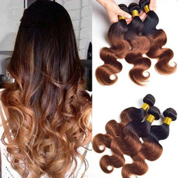Wholesale Cheap Two Tone Hair - 8A Ombre Brazilian Hair Two Tone Color 1B 30 Ombre Body Wave Hair 3Bundles Cheap Black Brown Ombre Human Hair Extensions