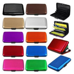 Wholesale waterproof business card holder - Aluminum Alloy Business ID Credit Card Holder Wallet Waterproof Anti-magnetic RFID Card Bags Purse Chirstmas Gifts CCA8359 400pcs