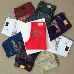 Wholesale Black Long Coat Men Styles - New Arrivals Mens Robin Jeans with Crystal Studs Pockets Rock Revival Denim Jean Biker Pants Trousers Desiger men's size 32-42