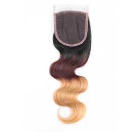 Cuerpo de malasia cierre frontal de onda online-Ombre Brasileño Body Wave Lace closure T1b 4 27 Indio peruano malasio virgen cabello humano Three Tone Lace Front Lace nudos blanqueados