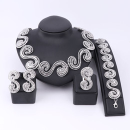 Wholesale Black Jade Gold Bracelet - Fashion Dubai Jewelry Set Silver Plated Nigerian Wedding African Beads China Clouds Necklace Earring Bracelet Ring Bijoux Femme