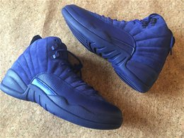 Wholesale Satin Silk Cushions - Wholesale 2016 New Arrival Retro 12 XII Premium Deep Royal Blue Suede men women basketball shoes high Quality free shipping eur size 36-47
