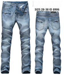 Wholesale American Paris - New Arrive Skinny water wash Motorcycle mens jeans desinger B8906 in single cow thickened Slim paris top quality plugs men's jeans