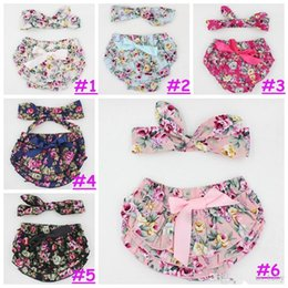 Wholesale Girl S Denim Sets - 2016 0-24M Baby girl flower shorts with headband summer cute style fashion infant girls print bloomer with headwear set