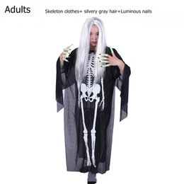 Wholesale Skeleton Costume Child - Halloween Costume Skeleton Ghost Clothes + Skull Devil Mask Demon Ghost Scary Party Clothes Robe for Adult Children Kids