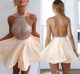 Wholesale Peach Backless Short Prom Dresses - 2016 Peach Mini Short Homecoming Dresses Halter Neck Sequins Bodice Sexy Backless Chiffon A-line Short Party Prom Evening Gowns BA3349