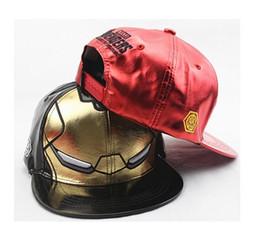 Wholesale Brim Iron - Wholesale-new Iron Man Faux Leather Hat Adjustable Cap Avengers Snapback Hat hero men sports hats flat brim