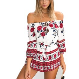 Wholesale Waist Shoulder Belts - 2016061418 2016 New Women Summer Sexy Slash Neck Off Shoulder Playsuit Fashion Printed Elastic Waist With Belt Casual Short Romper