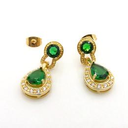 Wholesale Emerald Green Dangle Earrings - Emerald Finework 18k Yellow Gold Filled Womens Pierce Dangle Earrings