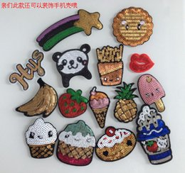 Wholesale Sewing Mobile - Korea creative mobile phone shell beads sequins quicksand pineapple ice cream Sequin cloth paste mobile phone sets decoration