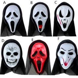 Wholesale dressing for masquerade party - New Scary Ghost Face Scream Mask Creepy for Halloween Masquerade Party Fancy Dress Costume