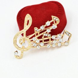 Wholesale Cheap Indian Wedding Jewelry - Gold Tone Clear Crystal Rhinestone Alloy Music Note Brooch Hot Selling Wholesale Cheap Wedding Bridal Bouquet Brooch Pins Women Jewelry