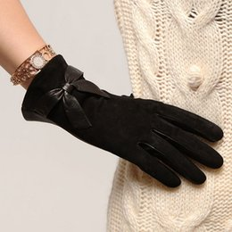 Wholesale Leather Opera Gloves Sale - Fashion Winter Thermal Women Suede Gloves Adult Solid Wrist Bowknot Lambskin Genuine Leather Thicken Drving Glove Sale L065nc