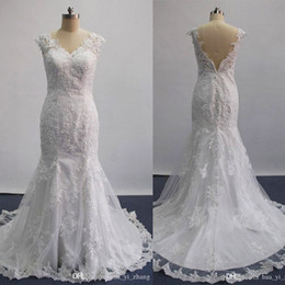 Wholesale Sposa Wedding Dress - Real 2016 Sexy Mermaid Wedding Dresses Sheer Lace Appliques Sleeveless Court Train Inspired by Amelia Sposa Alba Bridal Gowns