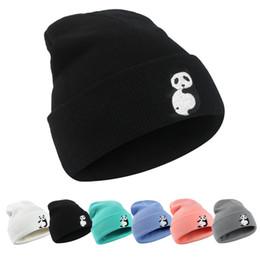 Wholesale Panda Knitted Hat - Designer Panda Animal Embroidery Acrylic Knit Beanie Slouchy Winter Hat For Adults Mens Womens Hear Ear Warmer Woman Snow Cap Hair Bonnet