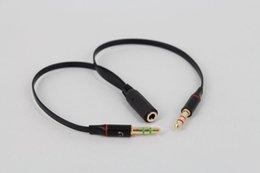 Wholesale Earphone Audio Splitter - 100pcs 3.5mm Audio Microphone MIC Adpater Y Splitter AUX Stereo Cable 1 Female to 2 Male Jack for Headphones Earphones