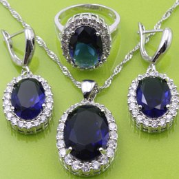 Wholesale Dark Silver Jewelry - Flawless Blue Sapphire 925 Sterling Silver Jewelry Sets Earrings Pendant Necklace Ring For Women Free Jewelry Box