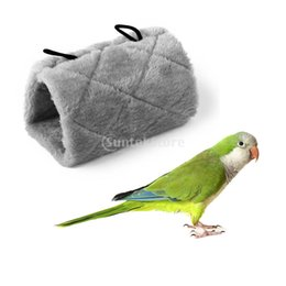 Wholesale Hanging Bird Cages - Wholesale-Gray Parrot Bird Hammock Hanging Cave Cage Plush Snuggle Happy Hut Tent Bed Bunk Parrot Toy M